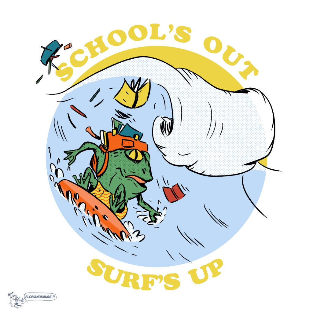 school's out surf's up square color